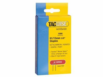 Tacwise 91 Narrow Crown Staples 15mm - Electric Tackers Pack 1000