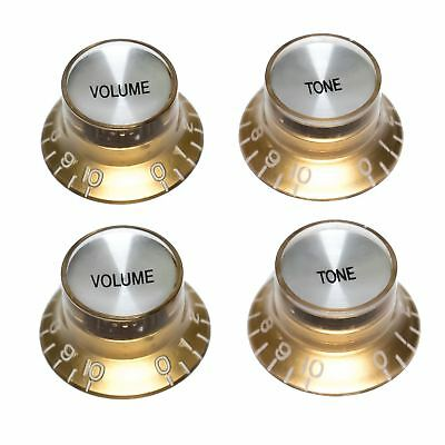 2 or 4 Gold/Silver Top Hat Volume & Tone Knobs for Gibson Epiphone Les Paul SG