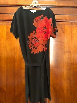 Hobbs Back Silk Tunic Dress with Red & Tan Floral Detail Sz 8 VGC