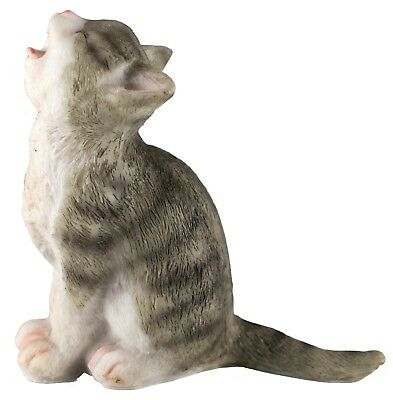"""Gray Striped Kitten Crying Cat Figurine 3.25"""" High Resin New!"""