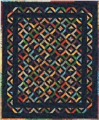 "New Pieced Quilt Pattern STAINED GLASS 72"" x 88"""