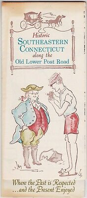 1960's Southeastern CT Lower Post Road Historical Map Brochure