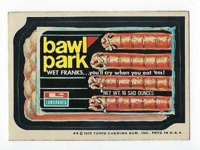 1975 Topps Wacky Packages 15th Series 15 BAWL PARK FRANKS ex