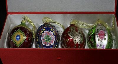 Set of 4 JOAN RIVERS Glass Christmas Ornaments 2009 MINT Faberge Egg Silk Case