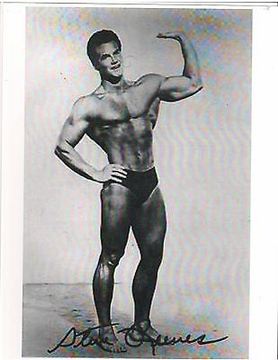 bodybuilder STEVE REEVES Mr Universe Bodybuilding Muscle Photo B&W Signed