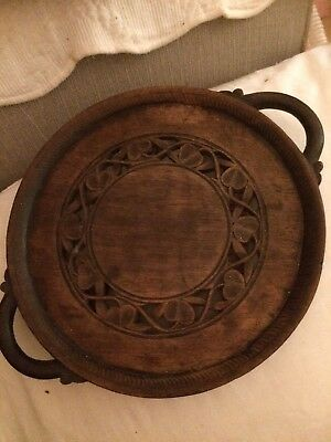 Round Wooden Tray Platter With Handles Hand Carved Vintage Oak? Indian