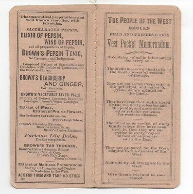 1890s Advertising Vest Pocket Notebook for Browns Quack Medicine Tonics