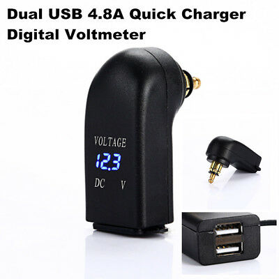 Dual USB Phone Charger Adapter Digital Voltmeter For BMW Din Hella Plug