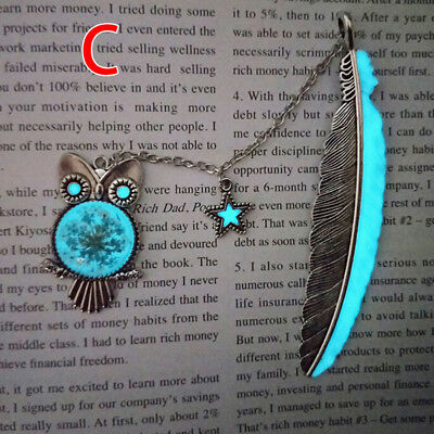 1X Luminous Night Owl Bookmarks Label Read Maker Feather Books Mark Stationery C