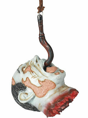 Hanging Decapitated Severed Head On Hook Zombie Halloween Party Decoration Prop