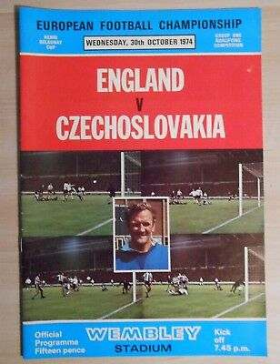 England v Czechoslovakia 30 October 1974 European Championship qualifier