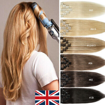 100% Real Long Clip In Remy Human Hair Extensions Full Head Highlight Blonde UK