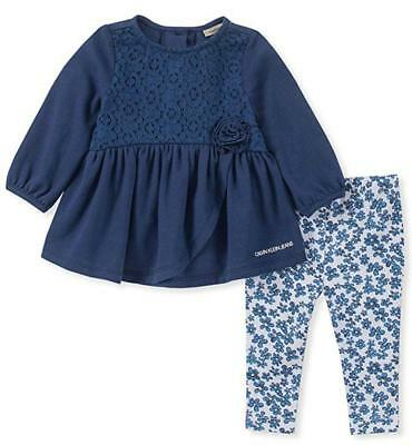 Calvin Klein Infant Girls Navy Tunic 2pc Legging Set Size 3/6M 6/9M 12M 18M 24M