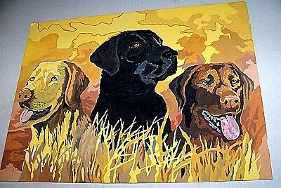 """Three Hunting Companions Completed Paint by Number Picture 14"""" x 11"""" Unframed"""