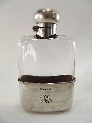 Antique Silver Mounted Hip Flask Hallmarked Chester 1904 Ref 385/2