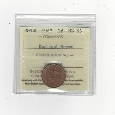 **1942**, ICCS Graded Newfoundland, Small One Cent, **MS-63**