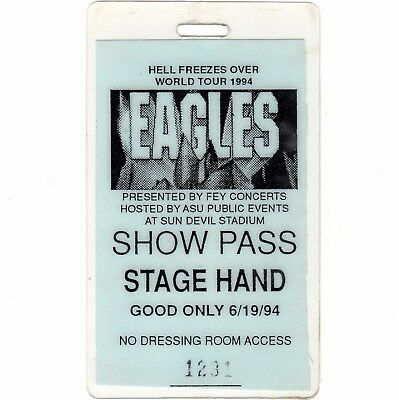 EAGLES Concert Ticket Laminate Backstage Pass TEMPE AZ 6/19/94 HELL FREEZES OVER
