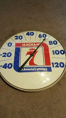 Vintage Seagram's 7 Thermometer Sign Advertising Curved Bubble Glass Rare