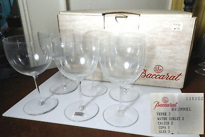 Baccarat Crystal BRUMMEL Water Goblets, Set of 6, MINT With BOX
