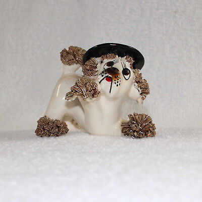 Vintage Spaghetti Poodle Dog Figurine with Black Hat Made in Japan