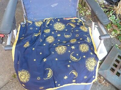 SUN MOON AND STARS SILK SCARF blue and yellow