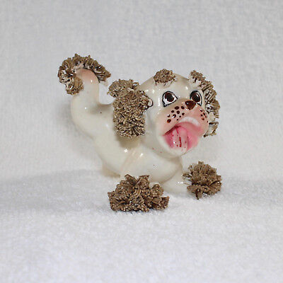 Vintage Wales Japan Spaghetti Poodle Dog Playful Figurine1950s
