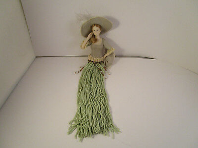 Vintage Victorian Lady in Green Beaded Tassel Feather Hat Christmas Ornament