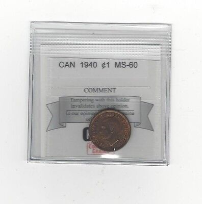 **1940**, Coin Mart Graded Canadian, Small One Cent, **MS-60**