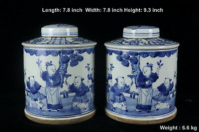 Chinese Beautiful A Pair Blue and White Porcelain Characters Tea Caddies