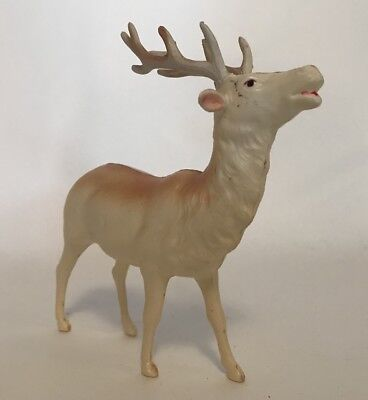 "Vtg Celluloid Christmas Deer Reindeer Figurine OCCUPIED JAPAN 5.25"" Missing Ear"