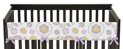 Jojo Lavender White Floral Front Rail Guard Crib Cover Baby Teething Protector