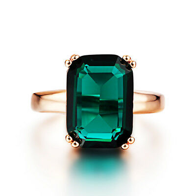 Vintage Antique Style Classical Emerald Green Crystal Women's Wedding Ring R174