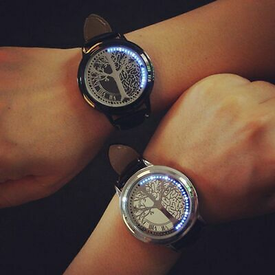LED Digital Touch Screen Womens Mens Watch Leather Band Couple Sport Wristwatch