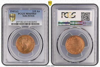 1941c India British 1/4 An PCGS GRADED - MS65RD - #492