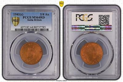 1941c India British 1/4 An PCGS GRADED - MS64RD - #785