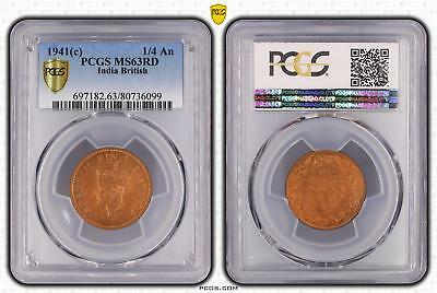 1941c India British 1/4 An PCGS GRADED - MS63RD - #099