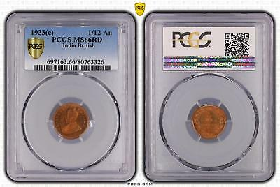1933c India British 1/12 An PCGS GRADED - MS66RD - #326