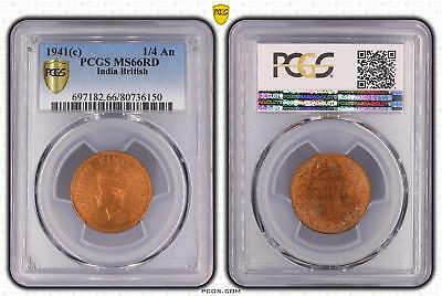 1941c India British 1/4 An PCGS GRADED - MS65RB - #150