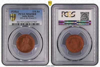 1935c India British 1/4 An PCGS GRADED - MS65RB - #707