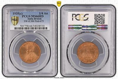 1935c India British 1/4 An PCGS GRADED - MS66RD - #510