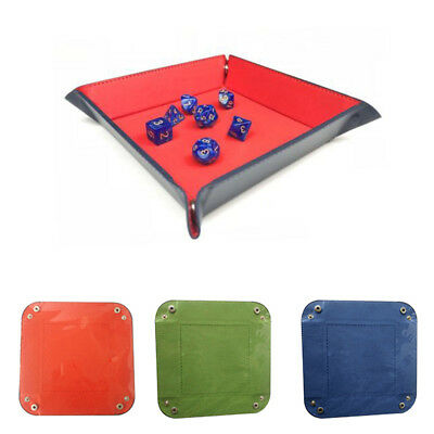 FAUX LEATHER COLLAPSIBLE DICE TRAY HOLDER TABLE DESKTOP KEY COIN STORAGE BOX Hot