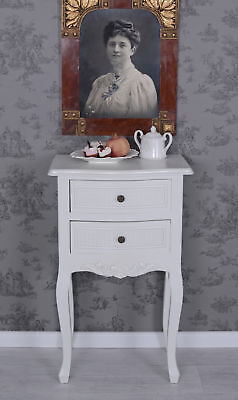Bedside Table Country Style Console Table White Cabinet Antique Style Shabby Chi