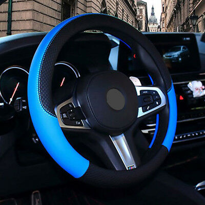 PU Leather Steering Wheel Cover Anti-slip Protector Fit 38cm/15inch Blue Durable