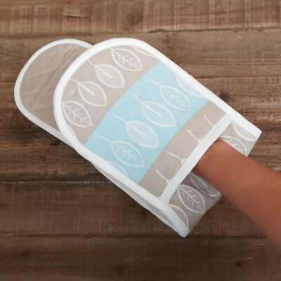 Beech Pattern Double Oven Glove Blue White Hand Mitt Chef New Cooking Cotton New