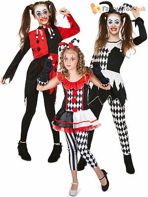 Girls Evil Harlequin Jester Costume Childs Zombie Circus Halloween Fancy Dress