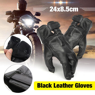 Motorcycle Motorbike Winter Thermal Warm Fleece Lined Leather Waterproof Gloves