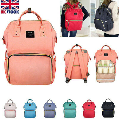UK LAND Large Baby Diaper Nappy Mummy Backpack Waterproof  Mommy Changing Bag