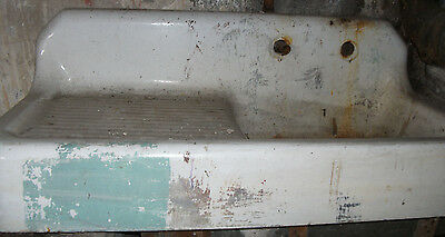 Antique vintage Cast Iron~ Porcelain~ enamal~ Wall Mount Sink! Rare!