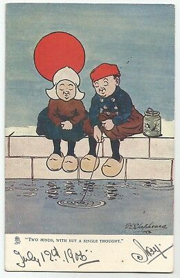 v children early old antique postcard comic humour