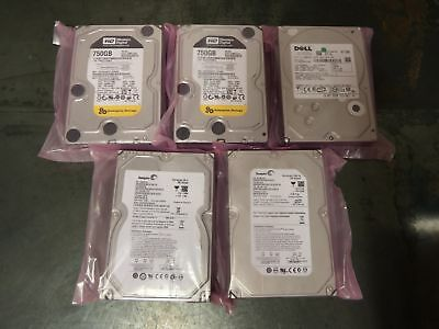 "LOT OF 5 - 750GB DESKTOP 3.5"" SATA Hard Drives HDD Mix Major Brand - TESTED -"